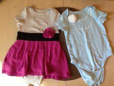DIY onesies...plain shirt with added skirt