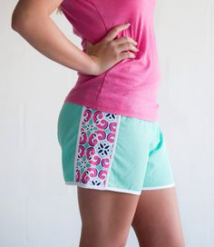 Mia Tile Active Shorts ~ Monogram Active Mia Tile Shorts ~ Monogrammed Workout Shorts ~ Monogrammed Running Shorts ~ Mia Tile Shorts