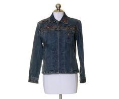 Chico's Blue Denim Stretch Zip Up Embroidered Beaded Jean Jacket Size 0 Stretch #Chicos #BasicJacket