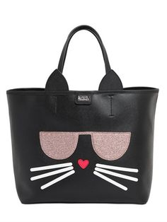 KARL LAGERFELD - K KOCKTAIL CAT FAUX LEATHER TOTE BAG - BLACK