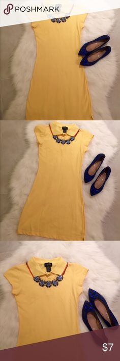 Yellow Tennis / Sport Dress, size small Never been worn and with tags, sport or tennis dress. Canary yellow with orange and white trim on collar, tiny knick on collar shown in pic 4. Dresses