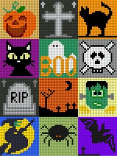 halloween pixel art © isabelle andreo crochet graph graphgan across Crochet Pour Halloween, Halloween Crochet Patterns, Halloween Cross Stitches, Pixel Art Halloween, Photo Halloween, Crochet Pixel, Graph Crochet, Cross Stitching, Cross Stitch Embroidery