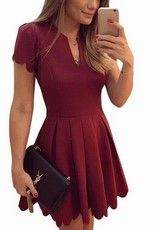 Sidefeel Women Cute V Neck Sweet Scallop Pleated Skater Dress - Red XX-Large Casual Dresses For Teens, Stylish Dresses, Teen Dresses, Casual Outfits, Fashionable Outfits, Dress Casual, Dress Outfits, Winter Outfits, Prom Dresses