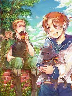 TEGAKI-Germany Italy and cats by miimiiakatsuki.deviantart.com on @deviantART