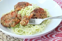 Greek Tomato Balls with Tzatziki Zucchini Pasta #zucchininoodles #zucchinipasta