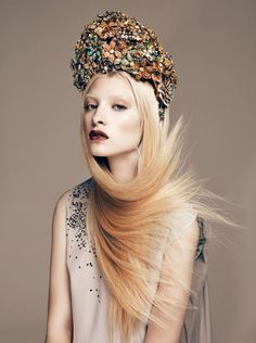 jeweled hat, fashion editorial