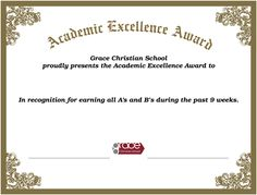 Grace Christian, Christian School, School Certificate, Teacher Awards, Spelling Bee, Excellence Award, Spirit Awards, Honor Roll, Science Fair