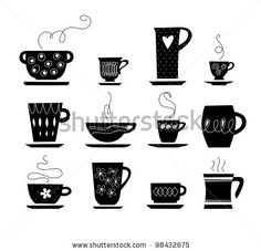 stock vector : silhouette of cup of tea or coffee