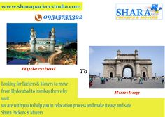 #moveing from #hyderabad to #bombay we are with you in relocation help to make relocation stress free, lets move your goods safely with Shara Packers & Movers  www.sharapackersindia.com Contact Us : 09515755322, 09515755377