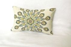 Duralee Pavo Peacock Decorative Lumbar Pillow Cover - 12 x 18 inch - Blue and Cream - Both Sides - Toss Pillow - Accent Pillow on Etsy, $32.00