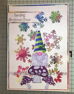 Tim Holtz Snowflakes Thinlets, Creative Expressions Make Gnome Mistake stamps, Creative Expressions Pixie Powders, First Editions Crafts alcohol pens
