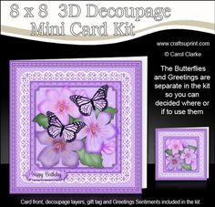 **NEW DESIGN**    8 x 8 Card Front    Lots of 3D decoupage layers    Separate Greetings Sentiments    Blank Greetings Panel    Matching Folded Gift Tag    A Pretty Design with Butterflies and Flowers on a lace doily.      A 2 sheet mini kit with ready to use card front, 3D decoupage to add depth to your card, greetings sentiments, blank sentiment panel for your own greeting, plus a matching folded gift tag too!    Full Pictorial step by step tutorial is also included in the Kit.    The…