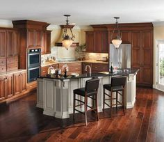 StarMark Cabinetry - Another Dark Cabinet / Flooring Combo Kitchen And Bath Remodeling Kitchen Remodel & 71 Best Kitchens - Medium Brown images | Kitchens Cherry finish ...