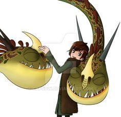 Hiccup and Barf and Belch ( the twins dragon)