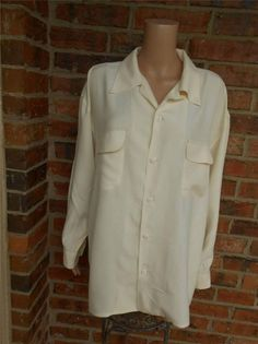 NEIMAN MARCUS 100% Silk Blouse Size XL Women Tunic Shirt Top Pockets Long Cream #NeimanMarcus #Blouse #Casual