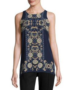 Floral-Print Trapeze Top, Navy/Green