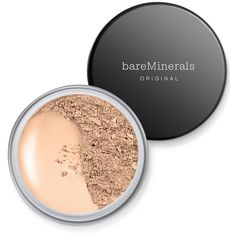 bareMinerals Original Spf 15 Foundation ($29) ❤ liked on Polyvore featuring beauty products, makeup, face makeup, foundation, fair, spf foundation, bare escentuals and bare escentuals foundation