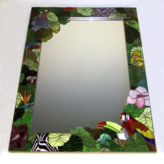 Stained Glass Mosaic Mirror The Mighty Jungle by smashglassworks. $1,525.00, via Etsy.