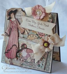 We love seeing the A Ladies Diary projects! @Gloria Mladineo Mladineo Stengel made this beautiful card with a bookmark in the card pocket! How wonderful. Beautiful! #graphic45 #cards