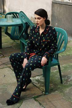 Kenzo x H&M silk suit, Anna Baiguera  ballerinas, Apart ring  + Inglot 448 Matte lipstick