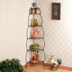 Capitalize on corner space with the Scrolled Corner Etagere from Southern Enterprises. The beautiful scrollwork and simple design make this piece a great addition to your home and provides 5 open shelves for storage and display of photos and other items. Corner Rack, Corner Shelves, Open Shelves, Corner Hutch, Corner Unit, Wine Racks, Storing Spices, Casual Dining Rooms, Canapé Design
