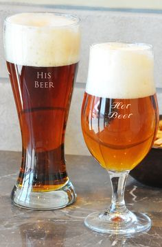 Getting this coordinating set of his-and-hers personalized beer glasses for a sweet touch of custom charm.