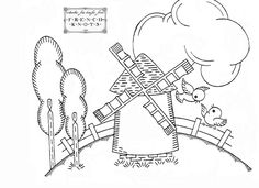 free Dutch Windmill Embroidery Transfer Pattern