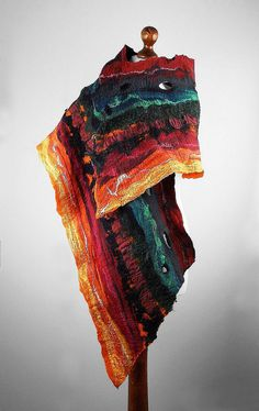 Felted Scarf Wrap Scarves wild Felt Nunofelt Nuno felt Silk Silkyfelted Eco Rainbow fairy multicolor shawl Fiber Art