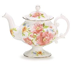 """#burtonandburton Handwash only/FDA approved.Porcelain Royal Rose - Beautiful Garden Teapot with floral design. Hand-painted gold accents.8""""H X 10""""W X 7""""D3""""Opening and Holds: 32oz.Each."""