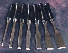 Damascus steel, ebony handle, polished steel. Chisel set. Beautiful!
