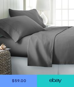 81d6609570f QUEEN SIZE GRAY SOLID BED SHEET SET 800 THREAD COUNT 100% EGYPTIAN COTTON  Bed Sheet