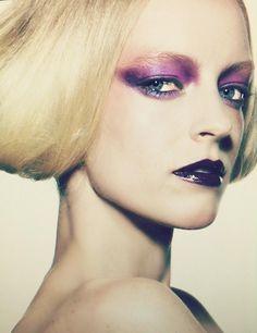 fashion, beauty, makeup, smokey eye, editorial, purple