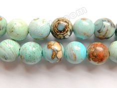 """Light Aqua Ocean Impression Jasper A - Smooth Round Beads 16"""""""