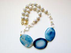 Chunky Blue Stone Bead Necklace