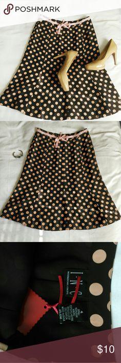 I. N. C.| Peach Polka dot brown silk midi skirt Cute pink belt bow tie on the front. Side zipper. 100% silk, lining 100% polyester. Super feminine ?? I.N.C Skirts Midi