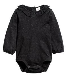 Romper met volantkraagje   Zwart/glitters   Kinderen   H&M NL