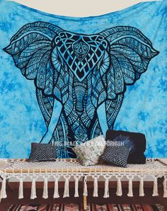 Turquoise Blue Tie Dye Valentina Harper Ruby The Asian Elephant Tapestry on RoyalFurnish.com, $15.99