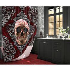 Gothic Skull Shower Curtain with Black Roses, Victorian Goth Home Decor – Bathroom Rugs Bath Mats Gothic Bathroom Decor, Goth Home Decor, Dark Curtains, Striped Shower Curtains, Bathroom Rugs, Bath Rugs, Bathrooms, Macabre Decor, Skull Shower Curtain