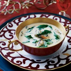 Seafood is an opulent start to Thanksgiving dinner, especially in this briny bisque studded with big, plump mussels and spinach.  Plus: Ultimate Tha...