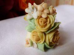 Vintage Thimble Porcelain Flowers Signed Thimble by vintagelady7, $10.00
