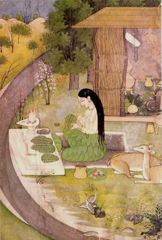 Lady writing on a leaf, Pahari (stijl), Kangra (region in India), Prince of Wales Museum. Traditional Paintings, Traditional Art, Illustrations, Illustration Art, Krishna, Shiva, Mughal Miniature Paintings, Sanskrit, Vintage India