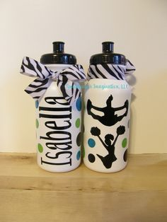 Personalized Sports Water Bottle- Cheerleader Gift. $7.75, via Etsy.