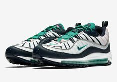Original Nike Air Max 98 Summer Sea Pure Platinum Obsidian Kinetic Green  640744-005 Official a4804df58