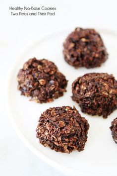 Healthy No-Bake Cookie Recipe on twopeasandtheirpod.com These easy no-bake cookies are gluten-free, vegan, and SO good!