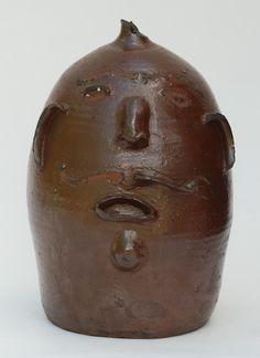 Face chicken waterer, ca. Chicken Waterer, Antique Crocks, Face Jugs, Gourds, Urn, Vases, Stoneware, Folk Art, Pottery