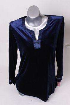 $98 Oscar de la Renta Women's Velvet Pajama Set S Small Navy NEW #DscardelaRenta #Sleepshirt