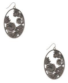 Floral Oval Earrings