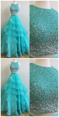 two pieces sequin tulle long prom dress, evening dress for teens #2piecespromdress #2piece #2pieces #twopieces #promdress #promdresses #hiprom