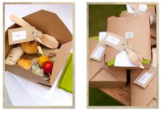 What an uber-cute idea- a light picnic, individually boxed up for each guest!