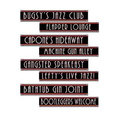 Gangster Street Sign Cut Outs feature fun 1920's flavored street names. Each Gangster Street Sign Cut Outs measures 24 wide long x 4 inches tall and are made from cardstock.